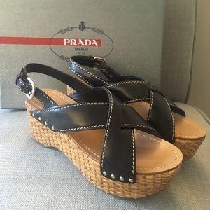 PRADA Black Wedge Espadrille Sandals New 36.5.